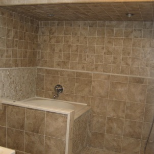 Shower, tile, marble and plumbing